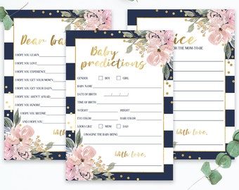 Navy and Gold Baby Shower Games Printable Gender Neutral, Floral and Stripe, Pink Flowers, Baby Predictions and Advice Cards, Dear Baby, GF1