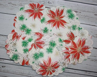 Vintage Christmas Doilies Paper Coasters 12 Poinsettia Holiday Party