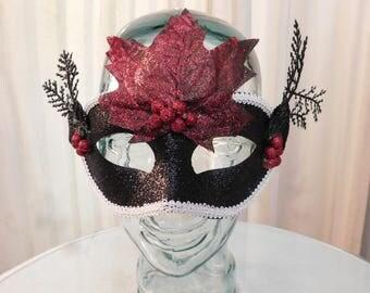 Sparkling Red and Black Nature Spirit Mask