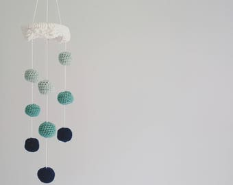 Crochet Baby Mobile/Dancing Drops Mobile/Nursery Decoration/Baby Gifts