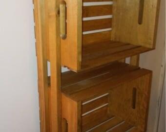 Rustic wood crate wall shelf