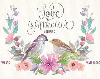 Watercolor clipped. Love is in the air elements png