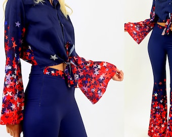 Dark Blue '70s Tie Front Satin Button Down Long Flare Sleeve Shirt Top