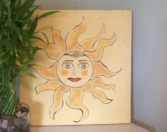Sun Goddess Painting on Reclaimed Wood