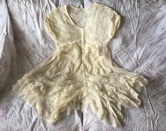 Free People Lace Vintage Inspired Cream White Lace Dress