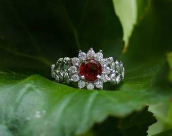 Garnet ring, silver ring, gemstone ring