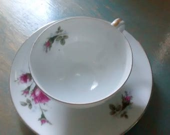 Simple Floral Teacup and Saucer