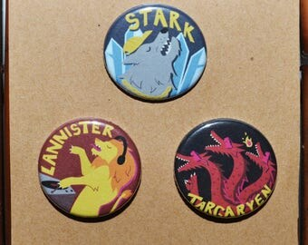 Game of Thrones House Sigils PARTY Buttons/Pins - Stark, Lannister, Targaryen