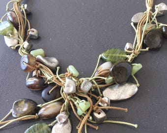 African Semi Precious Stone and Glass Bead Necklace