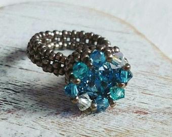 Blue Queen Swarovski Solitaire Ring