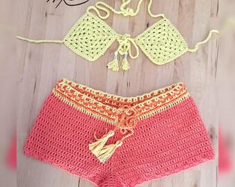 Crochet beachwear combo set by Nina Mire' - Peach, Canary Yellow