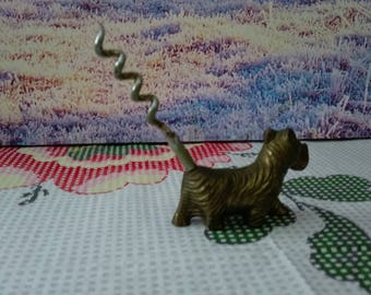 Brass dog corkscrew,vintage dog brass corkscrew,brass dog