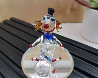 Funky glass figurine, glass figurine, vintage figurine