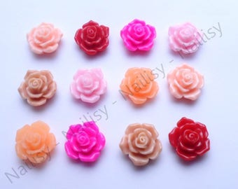 Mix of 12 flower 16mm REF855P cabochons