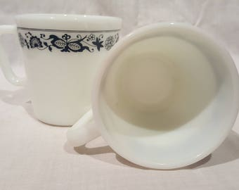 Vintage Pyrex Coffee Cups Old Town Blue set of 4