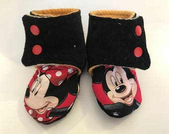 Mickey and Minnie Baby Booties, Size 6-12 months