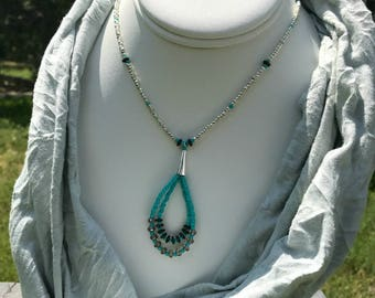 Tibetan Silver Double Loop Necklace
