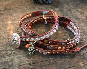 Wrapped beaded bracelet