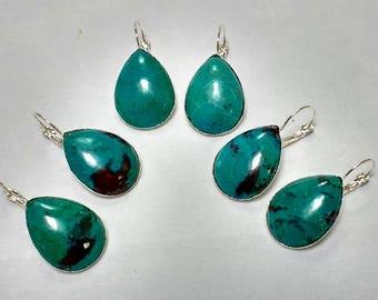 Chrysocolla Earrings; Chrysocolla Cabochon Earrings; Chrysocolla