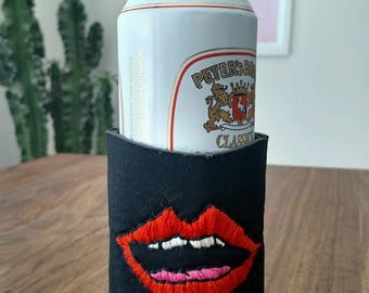 Custom Embroidered Drink Cozy - Red Mouth