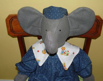 "Handmade 30"" gray fleece elephant with outfit and cap"