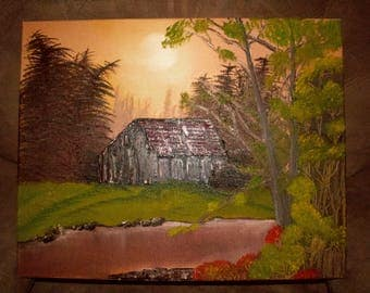 Oil Painting of barn near lake