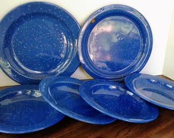 Vintage Blue Enamel Plates Enamelware Graniteware Camping Gear