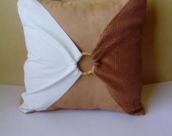 Matte Bronze Sequins with Bamboo Buckle (Peanut Butter Collection)  Luxury Pillow Cover
