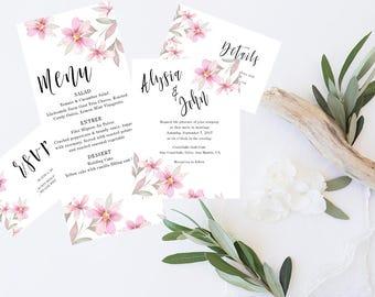 Pink Floral - Watercolor Wedding Invitation Set - Invitation, RSVP, Details, Menu, Thank you cards
