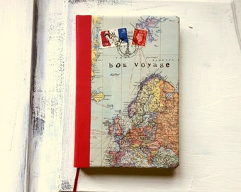 World map travel journal, ruled notebook, bon voyage journal, Europe, red border, good quality paper, light weight ideal for travelling