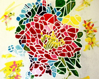 """ACRYLIC PAINTING Mosaic Rose 2016 Acrylic Painting on Canvas 11""""X 14"""" by Dorothy Norris"""
