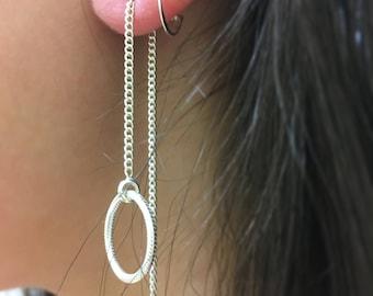 Silver Circle Thread Earring