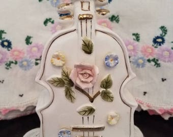 Vintage Violin Vase/Planter with Applied Flowers