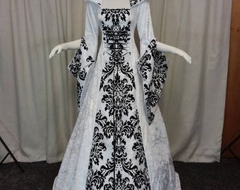 Ready to ship, Gothic wedding dress, handfasting gown, white and black dress, prom gown, renaissance gown, medieval hooded dress, bridesmaid