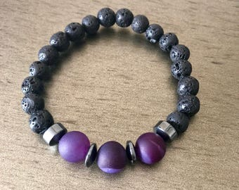 Banded agate and lava rock bracelet