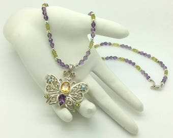 Amethyst, Peridot & Citrine Necklace with Butterfly Pendant on Sterling Silver