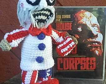 Captain Spaulding crocheted doll inspired by Rob Zombie's House of 1000 Corpses
