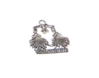 22 x 24mm Silver Trees MERRY CHRISTMAS Metal Charm - 3 charms