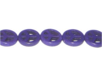 15mm Purple Dyed Turquoise Peace Sign, approx. 28 beads