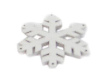 36mm White Wood Snowflake, 4 ornaments