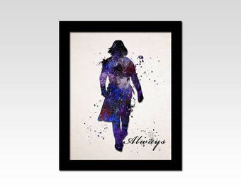Harry Potter inspired Severus Snape silhouette watercolour effect print