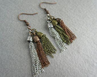 SALE 25%OFF  Antique silver, gold & copper chain tassel dangle earrings, mixed metal, boho, chain jewelry, ready to ship.