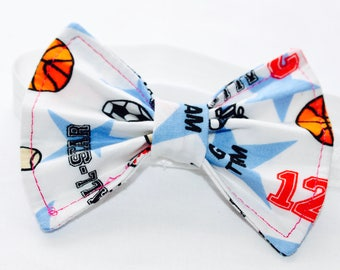 Sports hair bow with matching headband. Supportive sister bow!