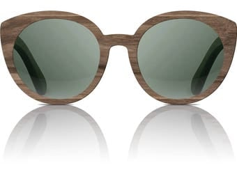 Handcrafted wooden eyewear, handmade wooden sunglasses, CRAFT Mystic - 100UV protection, spring hinges, microfiber cloth