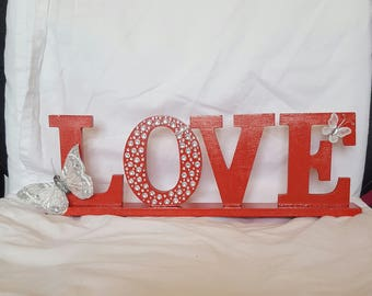 Red free standing wooden LOVE ornament