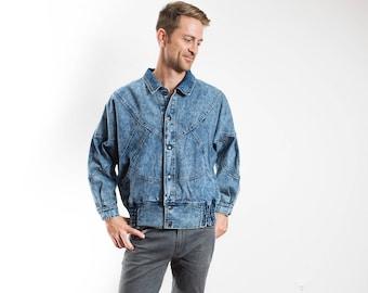 Vintage Denim Jacket / Mens Button Up Patchwork Acid Wash Bomber Jean Jacket