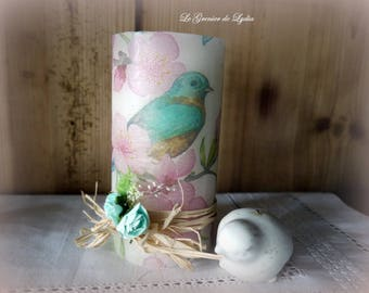 Candle decorated with birds of spring 13 cm