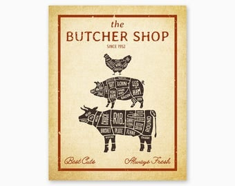 FARMHOUSE KITCHEN PRINTABLE, Farmhouse Decor, Butcher Shop, Farm Animals Wall Art, Country Home Decor, Rustic Kitchen, Instant Download