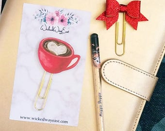 Coffee Planner Paper Clip, Travelers Notebook Accessories, TN Charm, Planner Stationary, Planner Paperclip, Cute Clips, I love Coffee