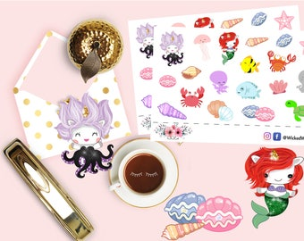 Mermaid Sticker, Under the Sea Planner Stickers,  Kawaii Sticker